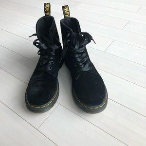 Dr Martens black velvet boots, used
